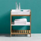 Badezimmerregal Mirella - Weiß/Kieferfarben, MODERN, Holz (40/50/30cm) - MODERN LIVING