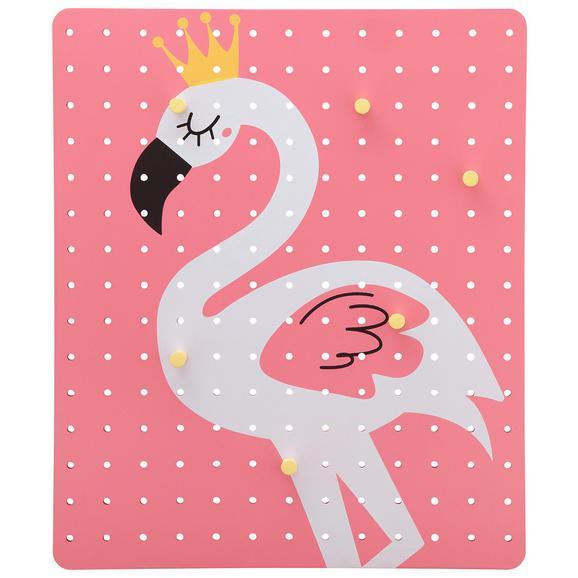 Hängeorganizer Luis mit Flamingomotiv - Pink, Holzwerkstoff (40/48/3,5cm)