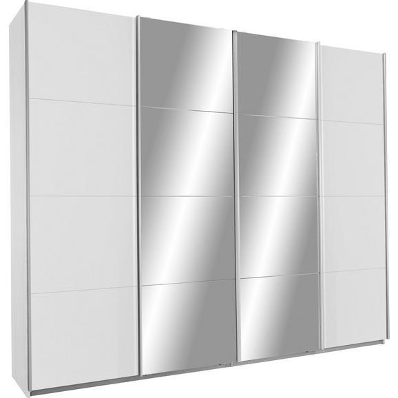Schwebetürenschrank in Weiß mit Spiegel - KONVENTIONELL, Holzwerkstoff/Metall (361/211/62cm) - Premium Living