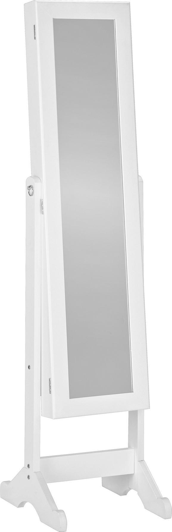 Álló Tükör Multistore - fehér, üveg/textil (34/144/37cm)