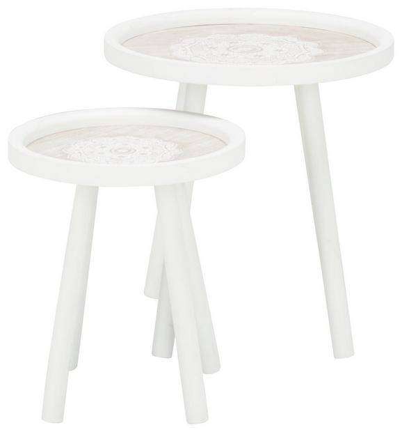 Beistelltischset in Weiß/Kieferfarben - Weiß/Kieferfarben, ROMANTIK / LANDHAUS, Holzwerkstoff (40/30/42/34cm) - MÖMAX modern living