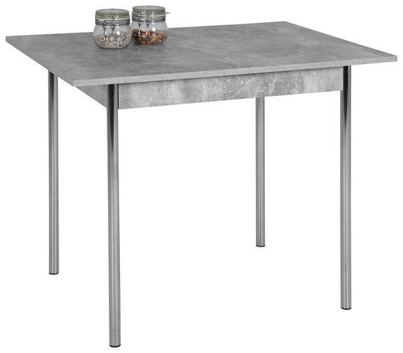 Esstisch Grau/Weiß - Chromfarben/Grau, Holzwerkstoff (75/72/55cm) - Based