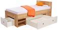Postelja Auzrro - bela/hrast sonoma, Moderno, leseni material (204/75/95cm) - Mömax modern living