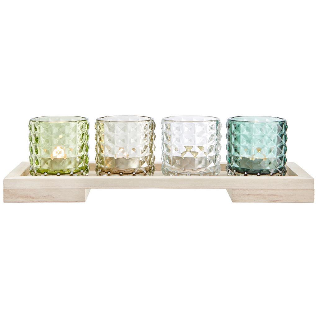 Teelichthalter Rory inkl. Gläser ca. 34/11cm