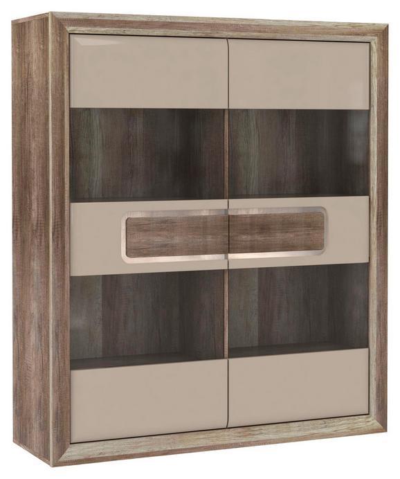 Vitrin Tiziano - bézs/tölgy színű, modern, műanyag/üveg (133,7/155,4/43,5cm)