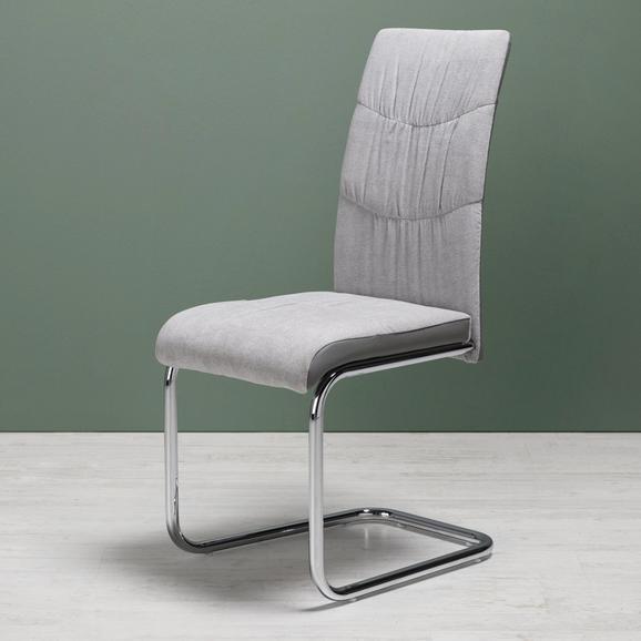 Stuhl Jerome - Chromfarben/Hellgrau, MODERN, Holz/Textil (43/99/56,5cm) - Mömax modern living
