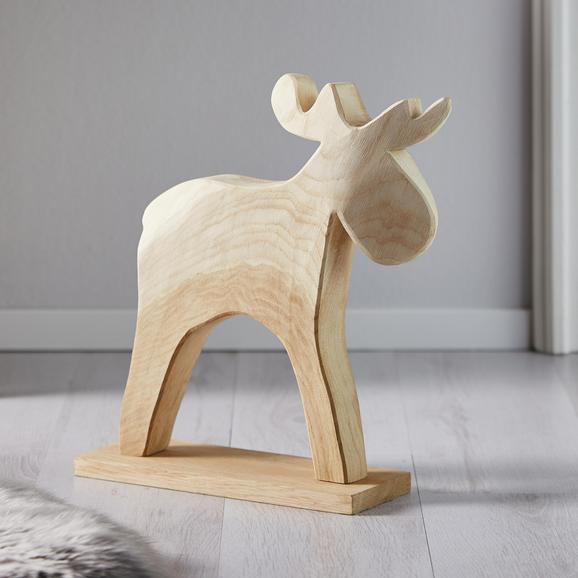 Dekorentier aus Eiche H ca. 43 cm 'Fynn' - Naturfarben, MODERN, Holz (43cm) - Bessagi Home