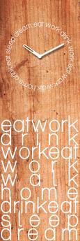 Wanduhr Eat Work Drink,ca. 20x60x3,5cm - Hellbraun/Weiß, KONVENTIONELL, Glas/Metall (20/60/3,5cm)