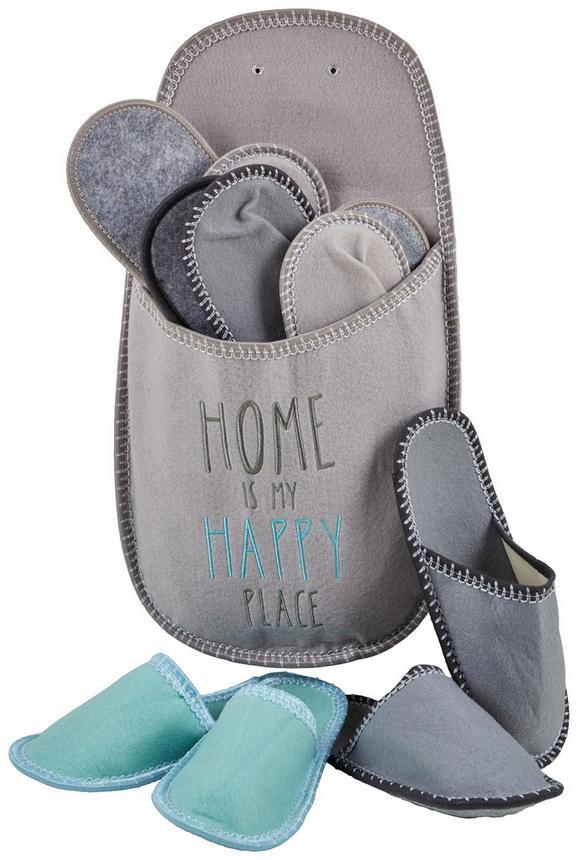 Vendégpapucs Szett Happy Place - türkiz/antracit, textil (35-45) - MÖMAX modern living