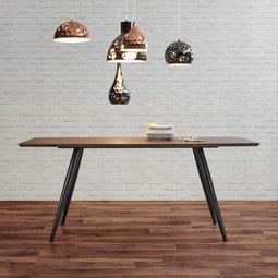 Esstisch in Walnussfarben ca.180x90cm 'Tomi' - Walnussfarben/Schwarz, MODERN, Holz/Metall (180/90/76cm) - Bessagi Home