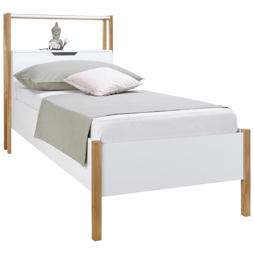 Bett Weiß/Eiche 100x200cm