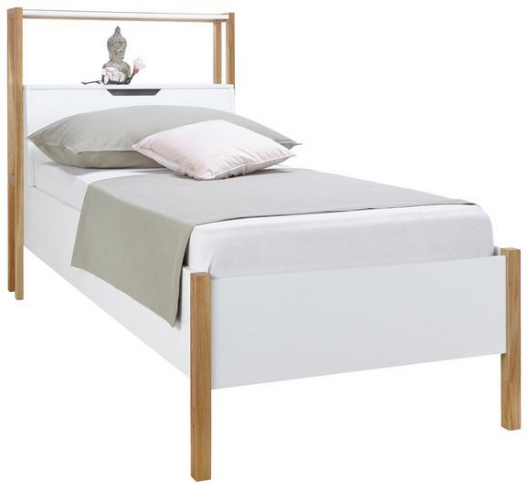 Bett Weiß/Eiche 100x200cm - Eichefarben/Weiß, Holz/Holzwerkstoff (100/200cm) - Zandiara
