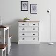 KOMMODE aus Kiefer 'Alessandra' - Bronzefarben/Weiß, MODERN, Holz/Metall (88/88/37cm) - Bessagi Home