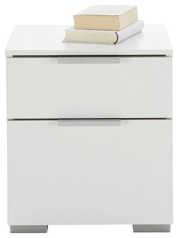 Nachtkästchen Weiß - MODERN, Holzwerkstoff (40/45/42cm) - Premium Living