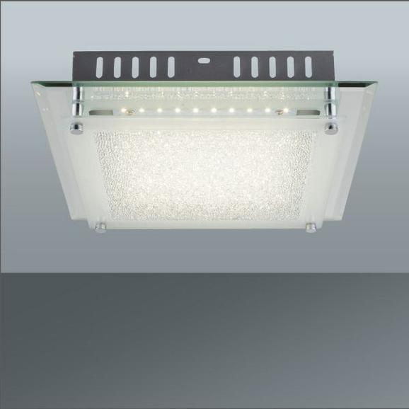 LED-Deckenleuchte Chris, max. 12 Watt - Chromfarben/Weiß, MODERN, Glas/Metall (28/7cm) - Mömax modern living