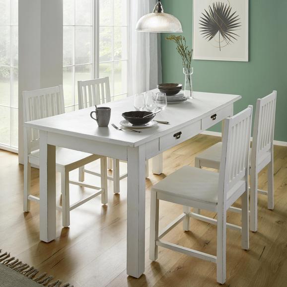Tisch Lewis Vintage ca.160x80cm - Weiß, MODERN, Holz (160/80/78cm) - Bessagi Home