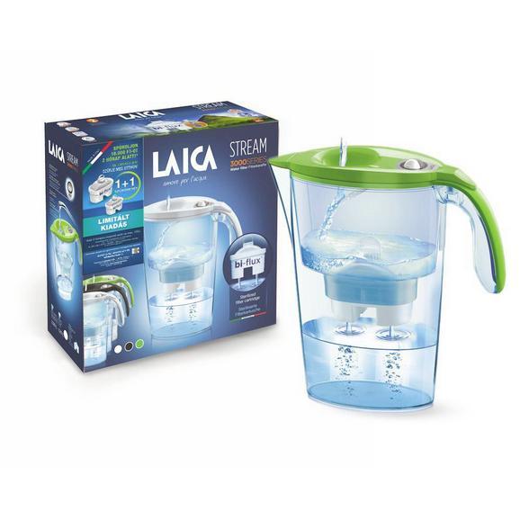 Vízszűrő Kancsó Laica Stream Line - Áttetsző/Zöld, Műanyag (27/9/24cm)