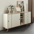 Sideboard in Weiß - Silberfarben/Weiß, MODERN, Holzwerkstoff/Metall (160/88,5/40cm) - Modern Living