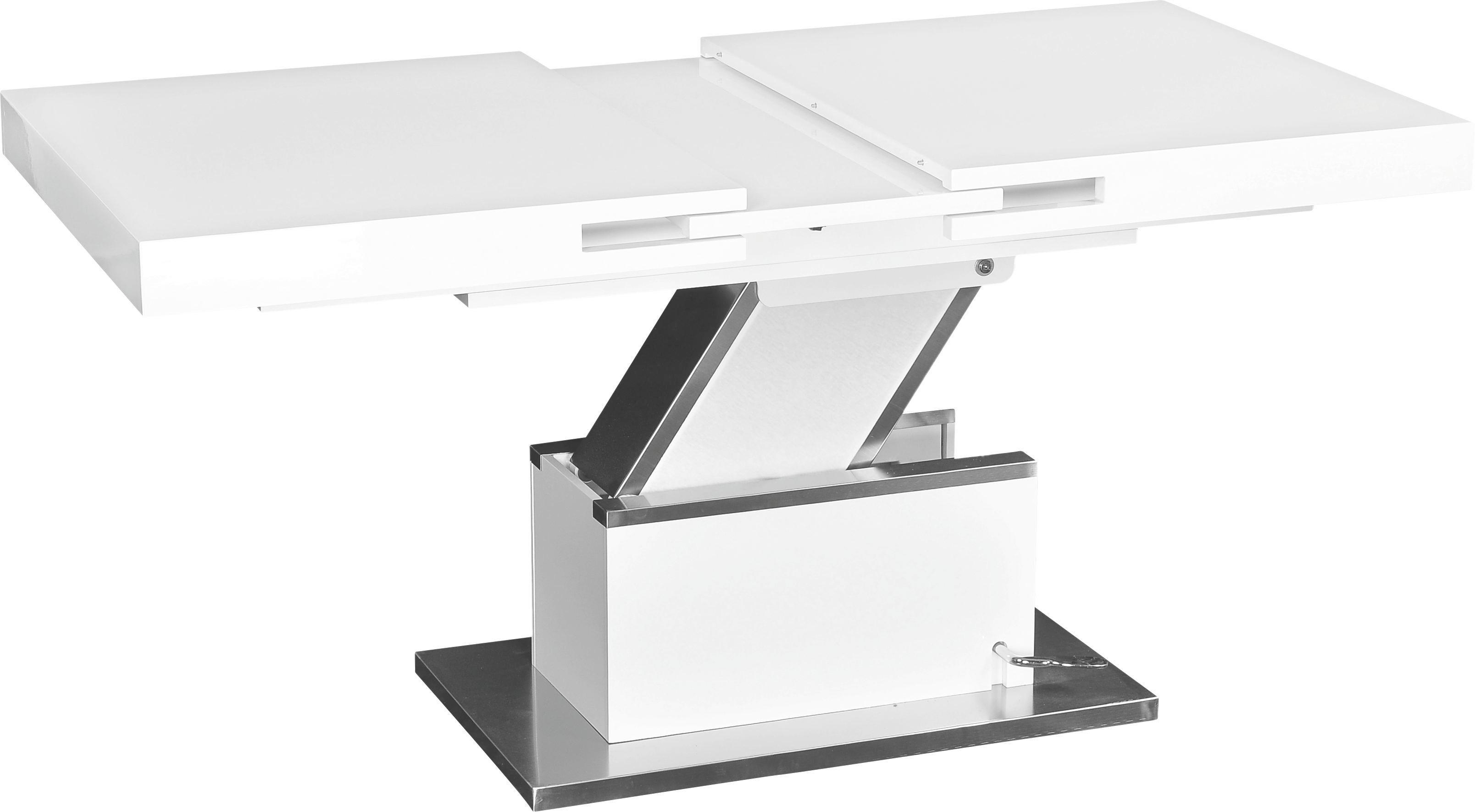 Couchtisch Weiß Hochglanz - Edelstahlfarben/Weiß, MODERN, Holzwerkstoff/Metall (133/170/47,5/75/80cm) - PREMIUM LIVING