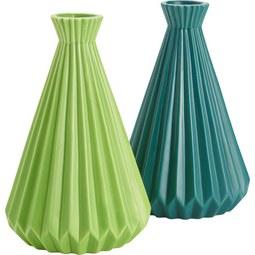 Vase Livia in Grün aus Keramik - Dunkelgrün/Hellgrün, Keramik (12/18,8cm) - MÖMAX modern living