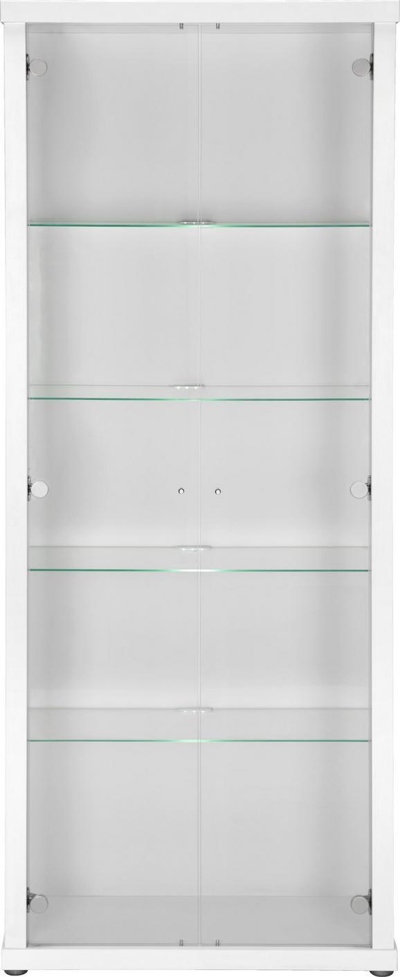 Vitrina Space - aluminij/bela, umetna masa/steklo (70/178/30cm)