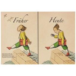 Postkarte Früher Heute - Multicolor, Papier (14,8/10,5cm)