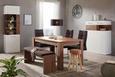 Highboard in Weiß Hochglanz - Weiß/Akaziefarben, MODERN, Holzwerkstoff (104/137/40cm) - Premium Living