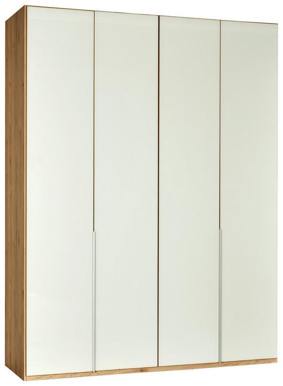 Drehtürenschrank Weiß/Eichefarben - Eichefarben/Alufarben, ROMANTIK / LANDHAUS, Holzwerkstoff/Metall (180/236/58cm) - Premium Living