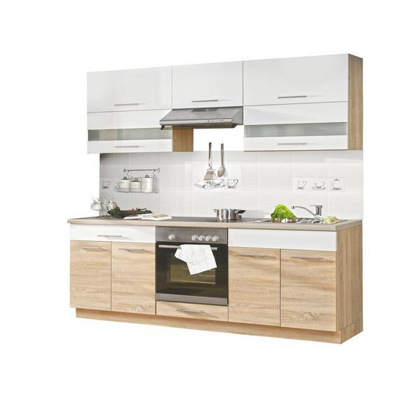 Kuhinjski Blok Corina - bijela/hrast Sonoma, Modern, staklo/drvo (220/214.9/60cm)