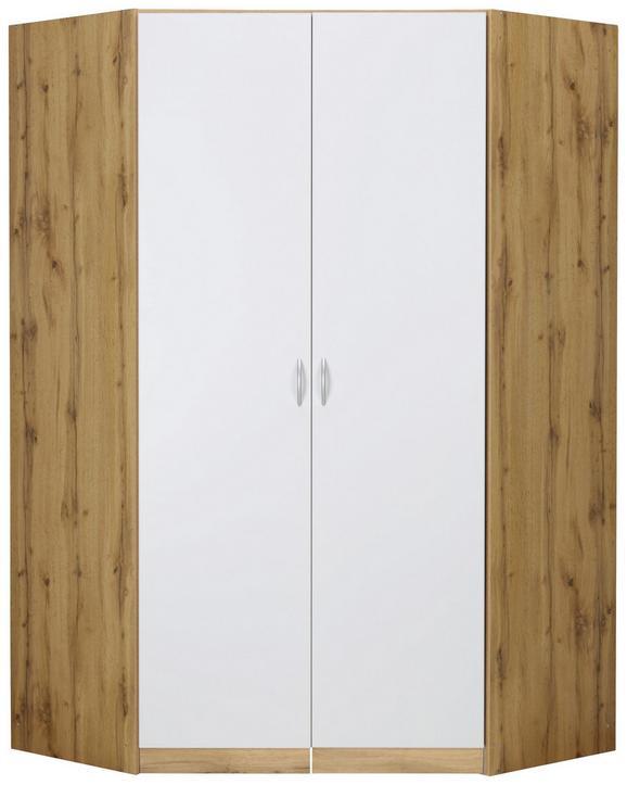 Begehbarer Eckschrank Weiß/Wotan Eiche - Alufarben, MODERN, Holz/Holzwerkstoff (117/197/117cm) - Modern Living