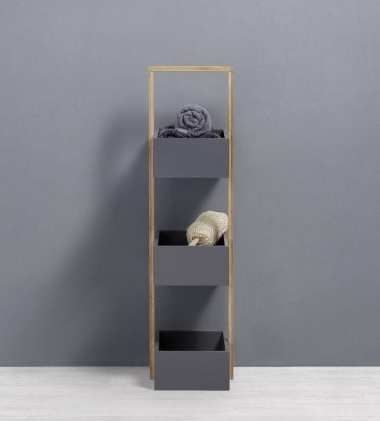 Badezimmerregal Mirella - Naturfarben/Grau, MODERN, Holz (32/89,5/24cm) - MÖMAX modern living