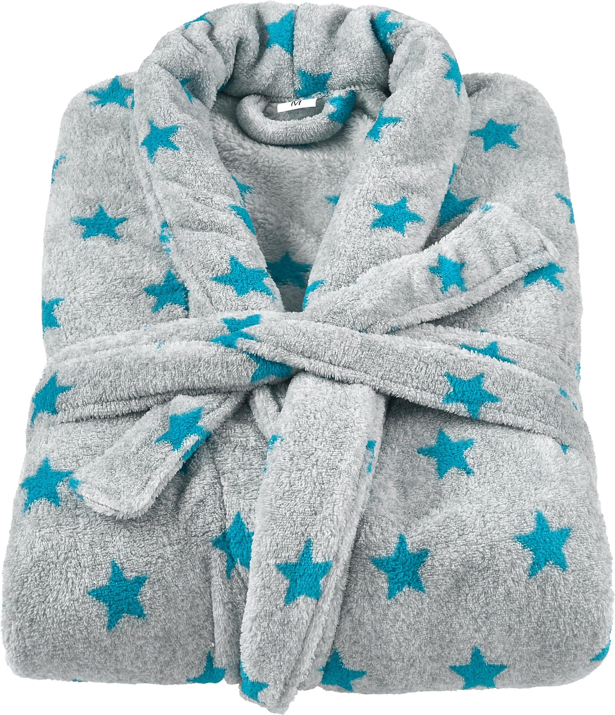 Bademantel Sterne in Grau mit Sternen - Petrol/Grau, Textil (S-L) - MÖMAX modern living