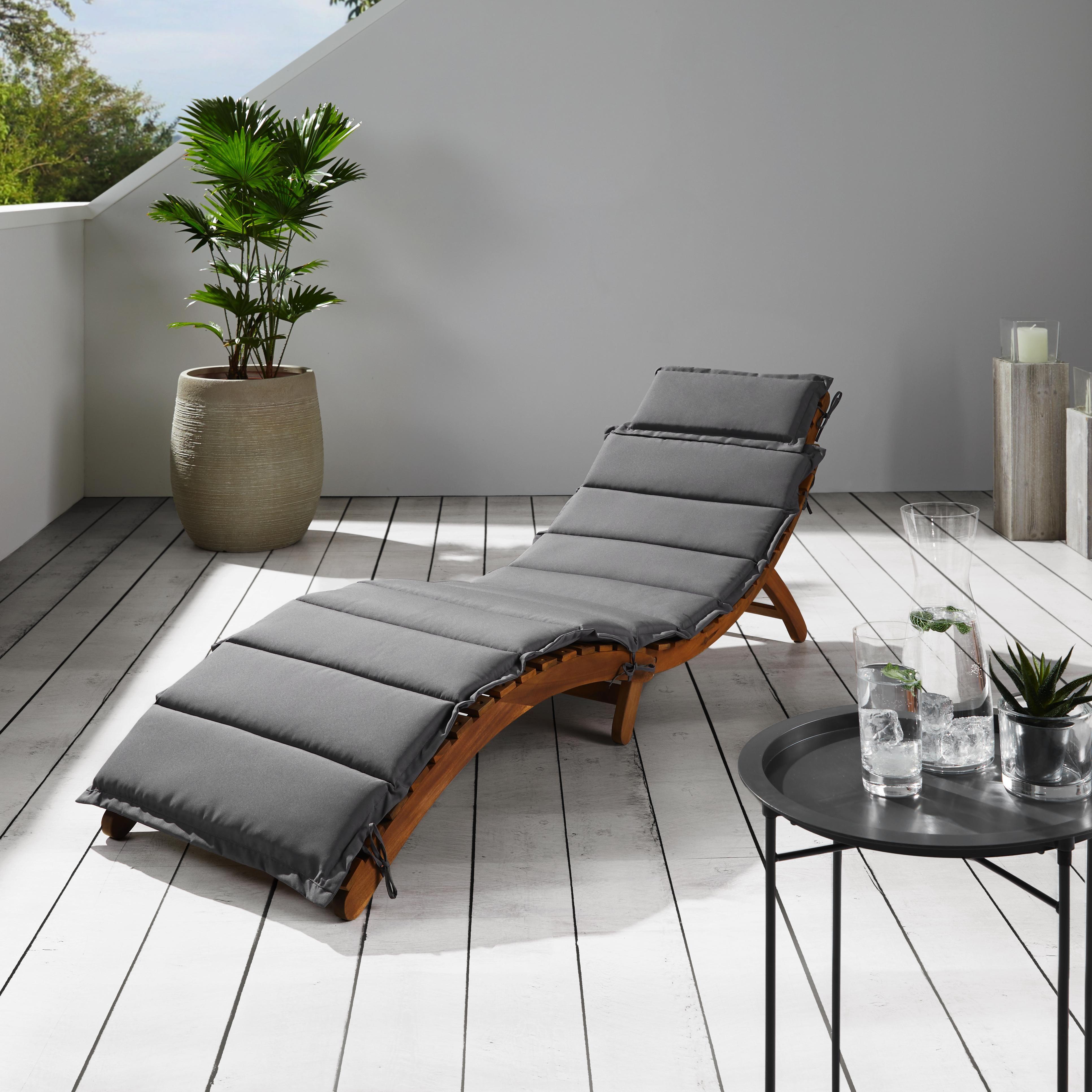 Gartenliege Bora aus Akazienholz inkl. Auflage - Dunkelgrau, MODERN, Holz/Textil (186/54/56cm) - Modern Living