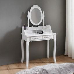 Schminktisch in Weiß ca.75x40cm 'Romy' - Weiß, ROMANTIK / LANDHAUS, Glas/Holz (75/142/40cm) - Bessagi Home