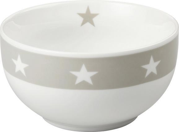Müslischale Star in Weiß/Hellgrau - Hellgrau/Weiß, MODERN, Keramik (14/7,5cm) - MÖMAX modern living