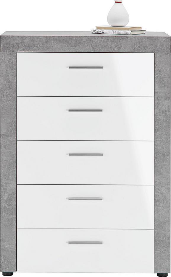 Kommode Weiß/Betonoptik - Hellgrau/Weiß, MODERN, Holzwerkstoff/Kunststoff (74/105/40cm) - Mömax modern living
