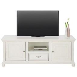 TV-Element aus Kiefer Massiv - Zinkfarben/Weiß, ROMANTIK / LANDHAUS, Holz/Metall (151,5/57/45cm) - Zandiara