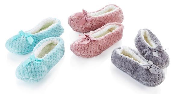 Hausschuhe Polina in verschiedenen Farben - Blau/Rosa, Textil (S,M,L) - MÖMAX modern living