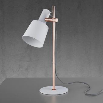 Tischleuchte Emilia - Weiß/Kupferfarben, MODERN, Metall (22/16/46cm) - Modern Living