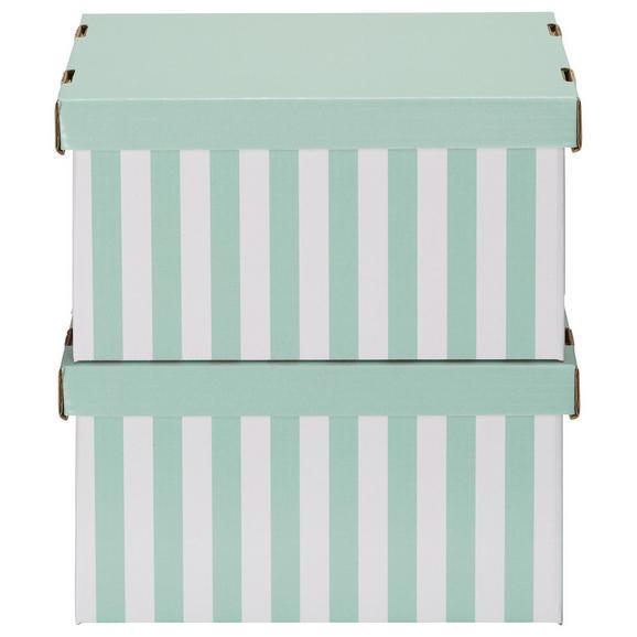 Box mit Deckel Jimmy Grün/Weiß - Weiß/Grün, Karton (34/18/25cm) - Mömax modern living