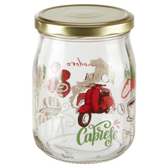 Einmachglas Sauce mit buntem Design - Transparent/Rot, Glas (9/12,1cm) - Mömax modern living