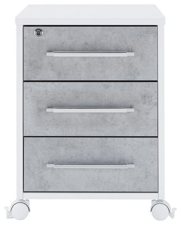 Rollcontainer in Grau/Weiß - Alufarben/Weiß, MODERN, Holzwerkstoff/Kunststoff (43/59/65cm) - MÖMAX modern living