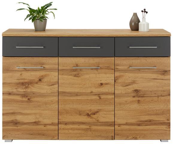 Sideboard Eichefarben/dunkelgrau - Chromfarben/Eichefarben, MODERN, Holzwerkstoff/Metall (140/95/40cm) - Mömax modern living