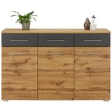 Sideboard in Eichefarben - Chromfarben/Eichefarben, MODERN, Holzwerkstoff/Metall (140/95/40cm) - Mömax modern living
