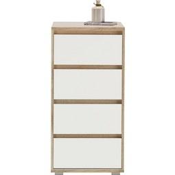 Kommode in Weiß/Natur - Silberfarben/Weiß, MODERN, Holzwerkstoff (50/103/48cm) - Mömax modern living