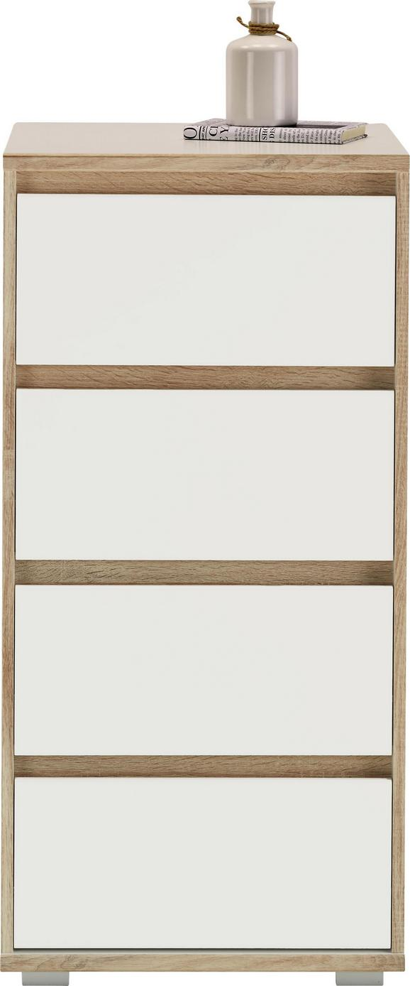 Kommode Weiß/Natur - Silberfarben/Weiß, MODERN, Holzwerkstoff (50/103/48cm) - Mömax modern living