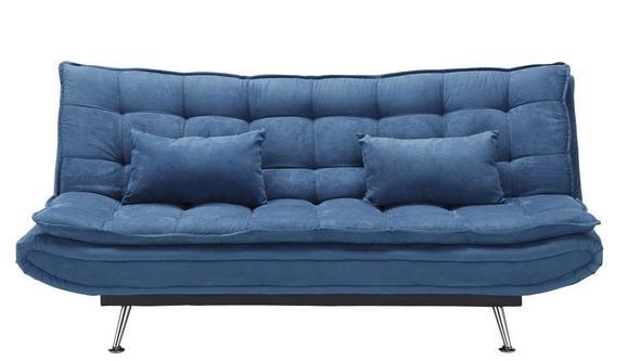 Schlafsofa Dunkelblau Bettfunktion - Silberfarben/Dunkelblau, Holz/Textil (196/92/98cm) - Modern Living