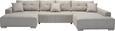Wohnlandschaft Beige mit Bettfunktion - Chromfarben/Beige, MODERN, Textil (170/411/210cm) - Modern Living