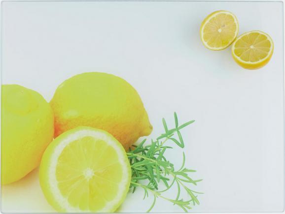 Schneidebrett Zitrone aus Glas - Glas/Kunststoff (30/40/0,4cm) - Mömax modern living