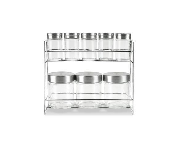 Gewürzregal Eleonore - Klar/Edelstahlfarben, KONVENTIONELL, Glas/Metall (17/9,2/22,6cm) - MÖMAX modern living